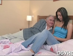 Steaming young chick fucks old lad