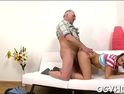 Teen babe experiences old knob