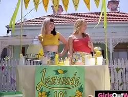 Hairy lesbian Marina licked in the kitchen