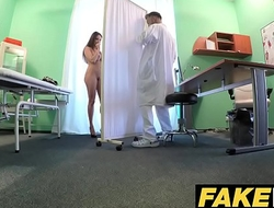 Mandate Hospital Tall brunette patient with big simple tits swallows docs cum