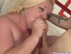 Throatfucked BBW gets banged on all fours