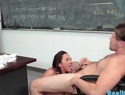 Real schoolgirl tastes teachers warm cum