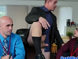 Office stud gets anally spitroasted