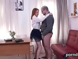 Innocent college girl is seduced and nailed away from her senior teacher