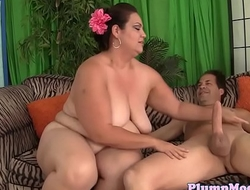 Bigtitted plumper bouncing on lucky load of shit