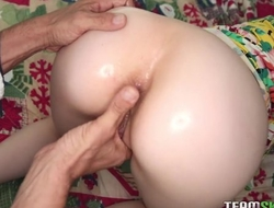 Amazing girl fucks stepdad's cock with her tight asshole