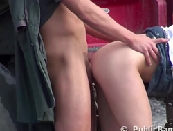 Hot blonde girl fucked in the middle of a construction work by 2 guys